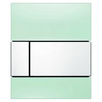 Кнопка смыва TECE Square Urinal 9242803 зеленое стекло, кнопка белая